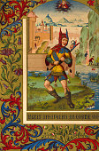 Jester portrait of a medievel court fool 15th century Print by R Kellerhoven