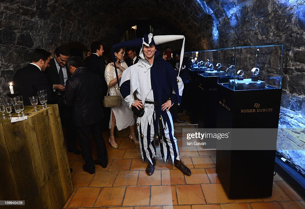 A jester poses at the Excalibur Dinner hosted by Roger Dubuis during the 23rd Salon International de la Haute Horlogerie at Caves des Vollandes on January 22, 2013 in Geneva, Switzerland.