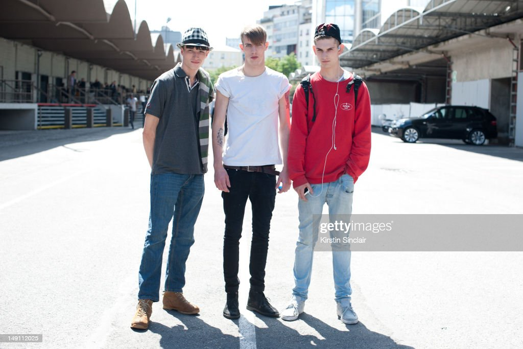 Jester White, Aaron Vernon and Reece Sanders, male models at Paris Fashion Week Spring/Summer 2013 menswear shows on July 01, 2012 in Paris, France..