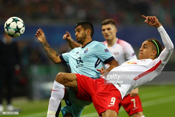 Jesu Manuel Corona of FC Porto and Yussuf Poulsen of RB Leipzig battle for possession during the UEFA Champions League group G match between RB...