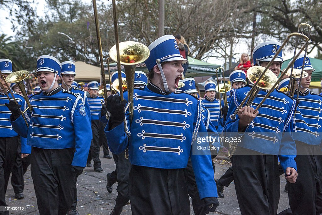 Jesuit High School Blue Jays marching band in the 2013 Krewe of Bacchus Mardi Gras Parade on February 10, 2013 in New Orleans, Louisiana.