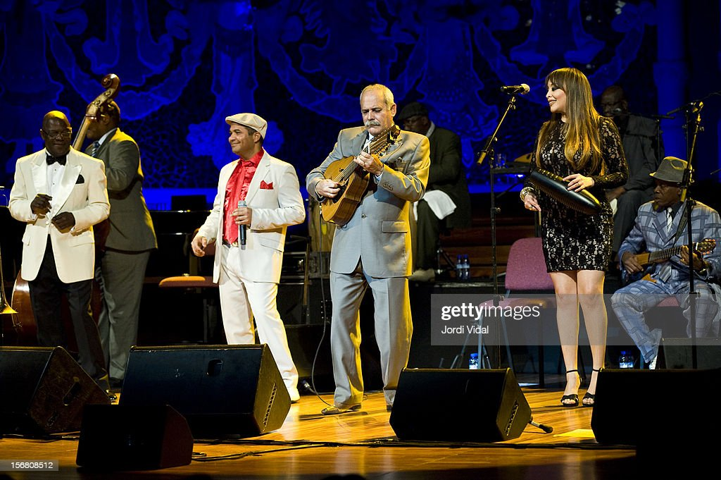 Jesus Aguaje Ramos, Carlos Calunga, Barbarito Torres and Idania Valdes of Orquesta Buena Vista Social Club perform on stage during Voll-Damm Festival Internacional de Jazz de Barcelona at Palau De La Musica on November 21, 2012 in Barcelona, Spain.
