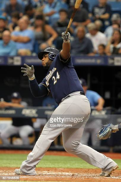 Jesus Aguilar of the Brewers at bat during the MLB regular season game between the Milwaukee Brewers and Tampa Bay Rays on August 6 at Tropicana...