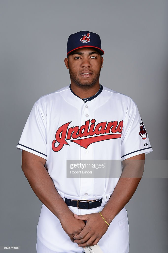 Jesus Aguilar #74 of the Cleveland Indians poses during Photo Day on February 19, 2013 at Goodyear Ballpark in Goodyear, Arizona.