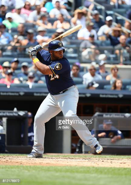Jesus Aguilar of the Milwaukee Brewers bats against the New York Yankees during their game at Yankee Stadium on July 8 2017 in the Bronx borough of...
