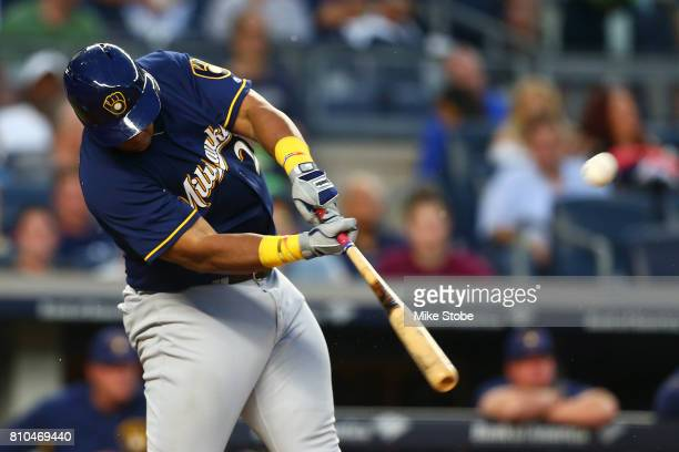 Jesus Aguilar of the Milwaukee Brewers connects on a second inning 2run home run against the New York Yankees at Yankee Stadium on July 7 2017 in the...