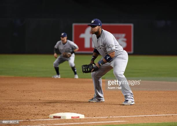 Jesus Aguilar of the Milwaukee Brewers gets ready to make a play against the Arizona Diamondbacks at Chase Field on June 10 2017 in Phoenix Arizona