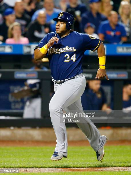 Jesus Aguilar of the Milwaukee Brewers in action against the New York Mets at Citi Field on May 31 2017 in the Flushing neighborhood of the Queens...