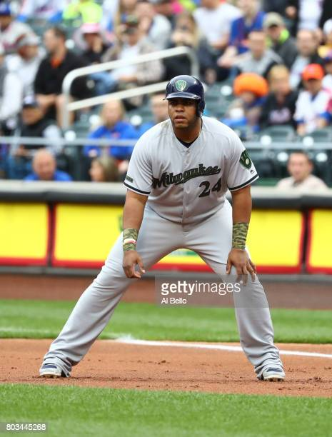 Jesus Aguilar of the Milwaukee Brewers in action against the New York Mets during their game at Citi Field on May 29 2017 in New York City