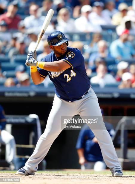 Jesus Aguilar of the Milwaukee Brewers in action against the New York Yankees at Yankee Stadium on July 9 2017 in the Bronx borough of New York City...