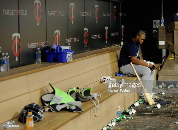 Jesus Aguilar of the Milwaukee Brewers remains in the dugout after the game against the Minnesota Twins on August 8 2017 at Target Field in...