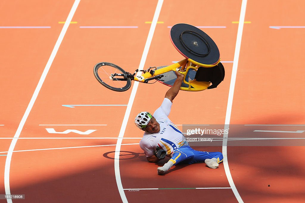 Jesus Aguilar of Venezuela crashes as he goes over the line to finish in the Men's 800m - T53 heats on day 6 of the London 2012 Paralympic Games at Olympic Stadium on September 4, 2012 in London, England.