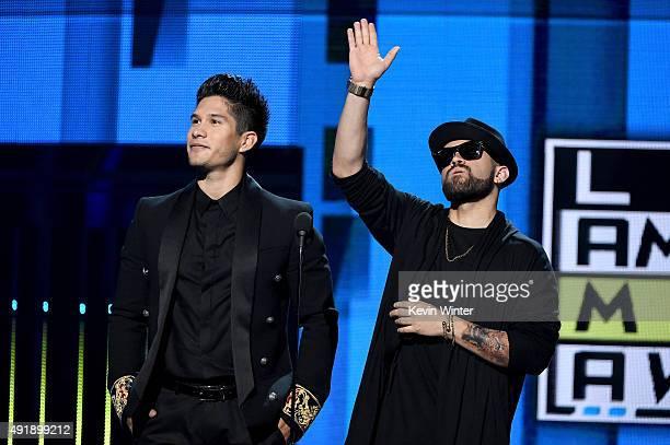 Jesus Alberto Miranda Perez and Miguel Ignacio Mendoza of Chino y Nacho speak onstage during Telemundo's Latin American Music Awards at the Dolby...