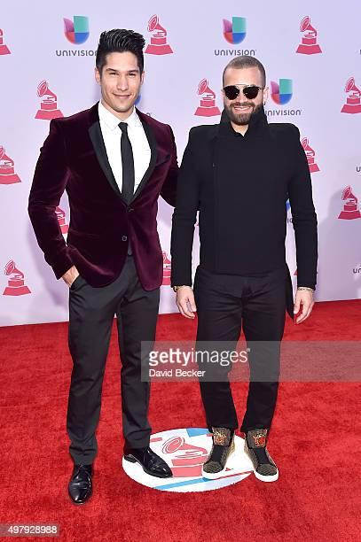 Jesus Alberto Miranda Perez and Miguel Ignacio Mendoza of Chino y Nacho attend the 16th Latin GRAMMY Awards at the MGM Grand Garden Arena on November...