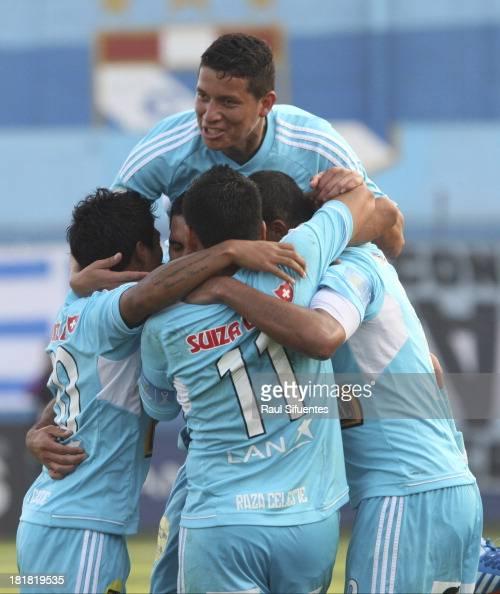 Jesus Alvarez of Sporting Cristal celebrates a scored goal against Alianza Lima during a match between Sporting Cristal and Alianza Lima as part of...