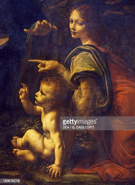 Jesus and the angel detail from the Virgin of the Rocks 14831490 by Leonardo da Vinci oil on panel transferred to canvas 197x120 cm