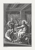 Jesus' anointing by the sinner (Luke 7, 36-50). Copper engraving by Carl Schuler, published c. 1850.