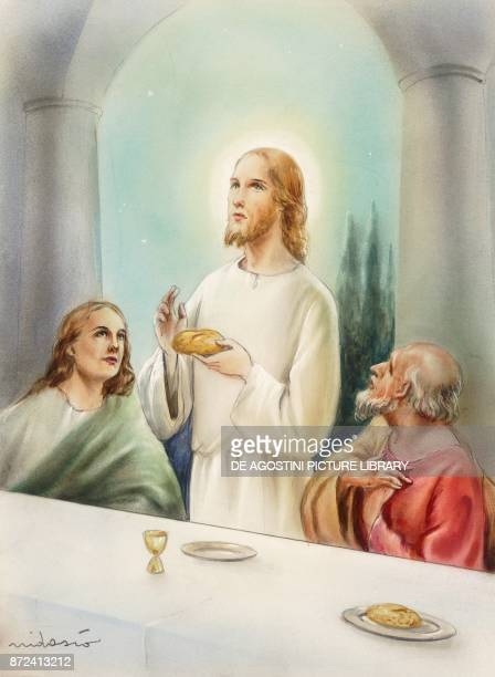 Jesus blessing bread and wine during the last supper episode from the Gospel drawing