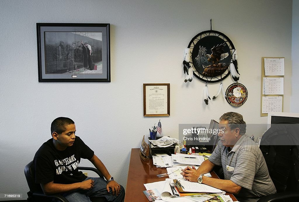 Jesus Bocanegra talks to a therapist during a therapy session his second in a single day at a Veterans' Affairs office July 21 2006 in McAllen Texas...