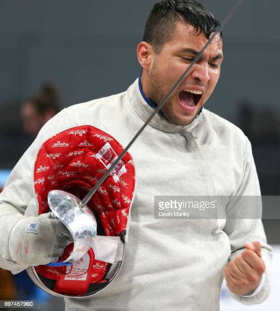 Jesus Carvajal of Venezuela celebrates a victory during the Team Men's Sabre event on June 18 2017 at the PanAmerican Fencing Championships at Centre...