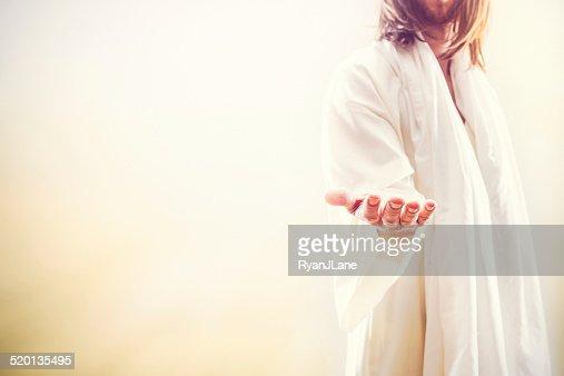Jesus Christus du einladende Hand