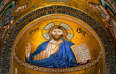 Jesus Christ mosaic icon in Monrelae cathedral, Palermo, Italy