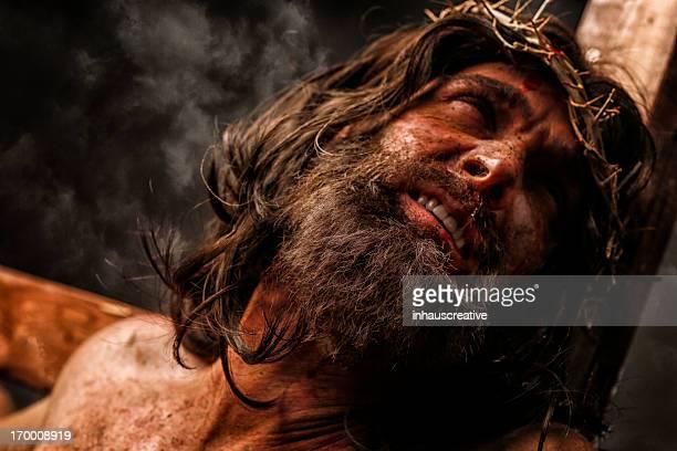 Jésus Christ sur la Croix dans la douleur