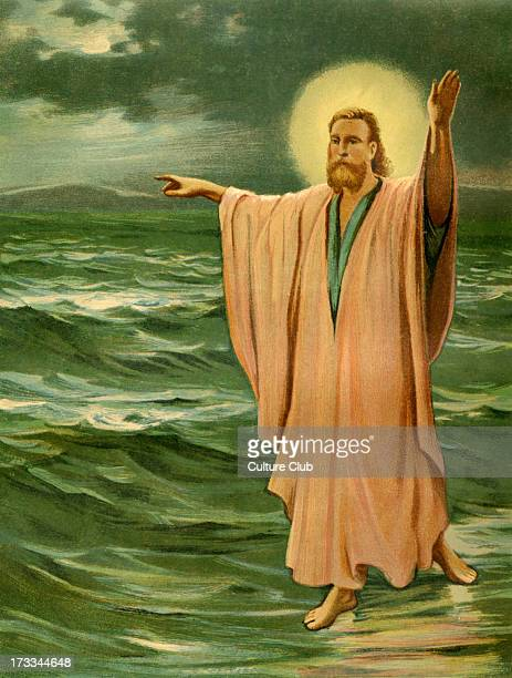 Jesus Christ performing one of his miracles walking on Lake Galilee Illustration by Philip R Morris
