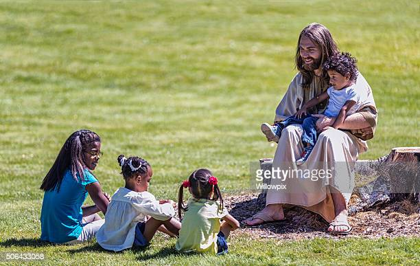 Jesus Christ Sitting Teaching Four Children Siblings
