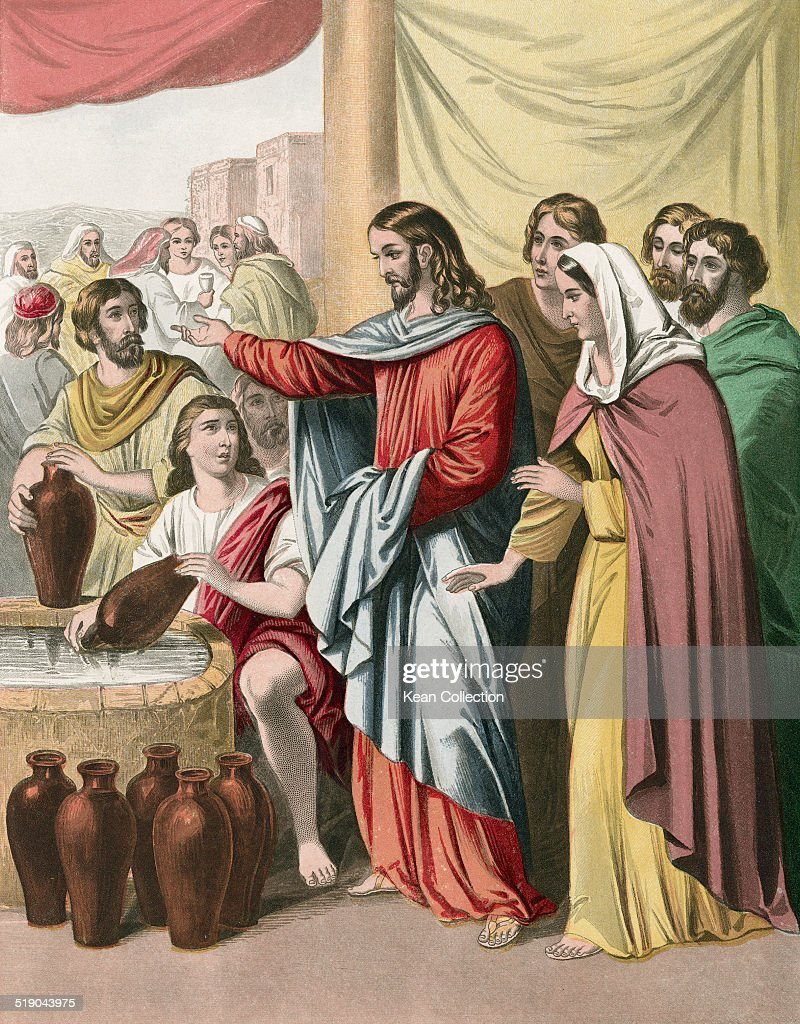 <a gi-track='captionPersonalityLinkClicked' href=/galleries/search?phrase=Jesus+Christ&family=editorial&specificpeople=75454 ng-click='$event.stopPropagation()'>Jesus Christ</a> transforms water into wine during the Marriage at Cana (John 2:7 ). From an original engraving by Joseph Martin Kronheim.