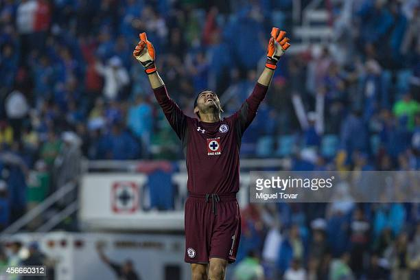 Jesus Corona goalkeeper of Cruz Azul celebrates after his team scored during a match between America and Cruz Azul as part of 12th round Apertura...