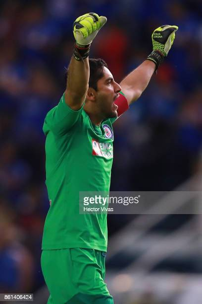 Jesus Corona goalkeeper of Cruz Azul celebrates after the first goal of his team during the 13th round match between Cruz Azul and America as part of...