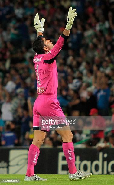 Jesus Corona goalkeeper of Cruz Azul celebrates the first goal of his team during the 14th round match between Santos Laguna and Cruz Azul as part of...
