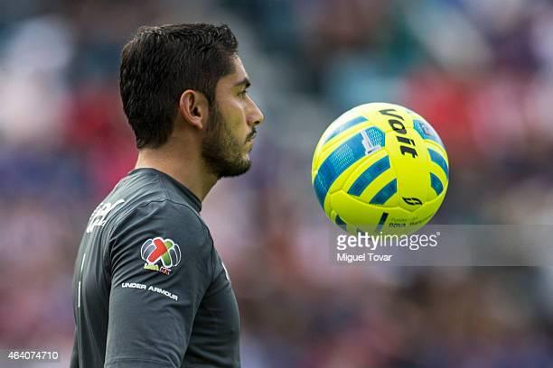 Jesus Corona goalkeeper of Cruz Azul controls the ball during a match between Cruz Azul and Chivas as part of 7th round Clausura 2015 Liga MX at Azul...
