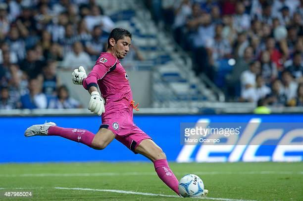 Jesus Corona goalkeeper of Cruz Azul kicks the ball during an 8th round match between Monterrey and Cruz Azul as part of the Apertura 2015 Liga MX at...