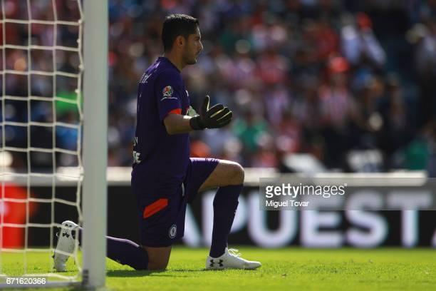 Jesus Corona goalkeeper of Cruz Azul prays during the 15th round match between Cruz Azul and Chivas as part of the Torneo Clausura 2017 Liga MX at...