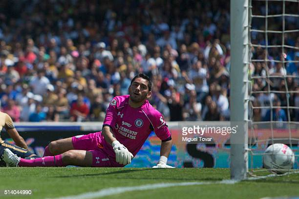 Jesus Corona goalkeeper of Cruz Azul reacts after receiving a goal during the 9th round match between Pumas UNAM and Cruz Azul as part of the...