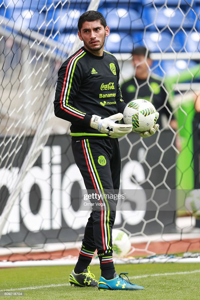 Jesus Corona goalkeeper of Mexico holds the ball during a Mexico's National Team training session at Marlins Park on February 09, 2016 in Miami, United States.
