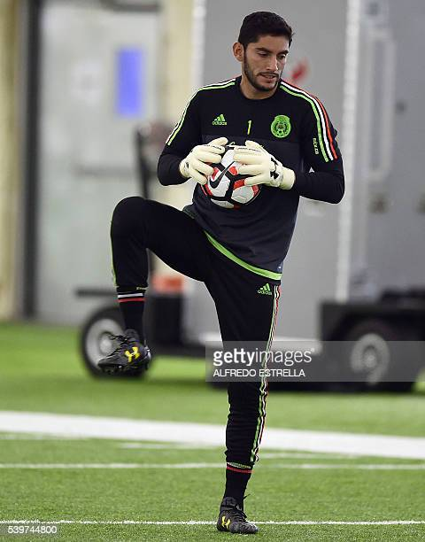 Jesus Corona goalkeeper of Mexico warms up during a traning session at Methodist Training Center in Houston Texas on June 12 2016 Mexico will face...