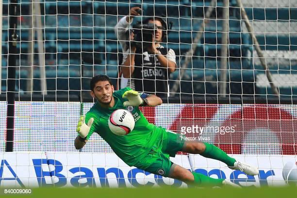 Jesus Corona of Cruz Azul blocks a penalty shot during the seventh round match between Cruz Azul and Monterrey as part of the Torneo Apertura 2017...
