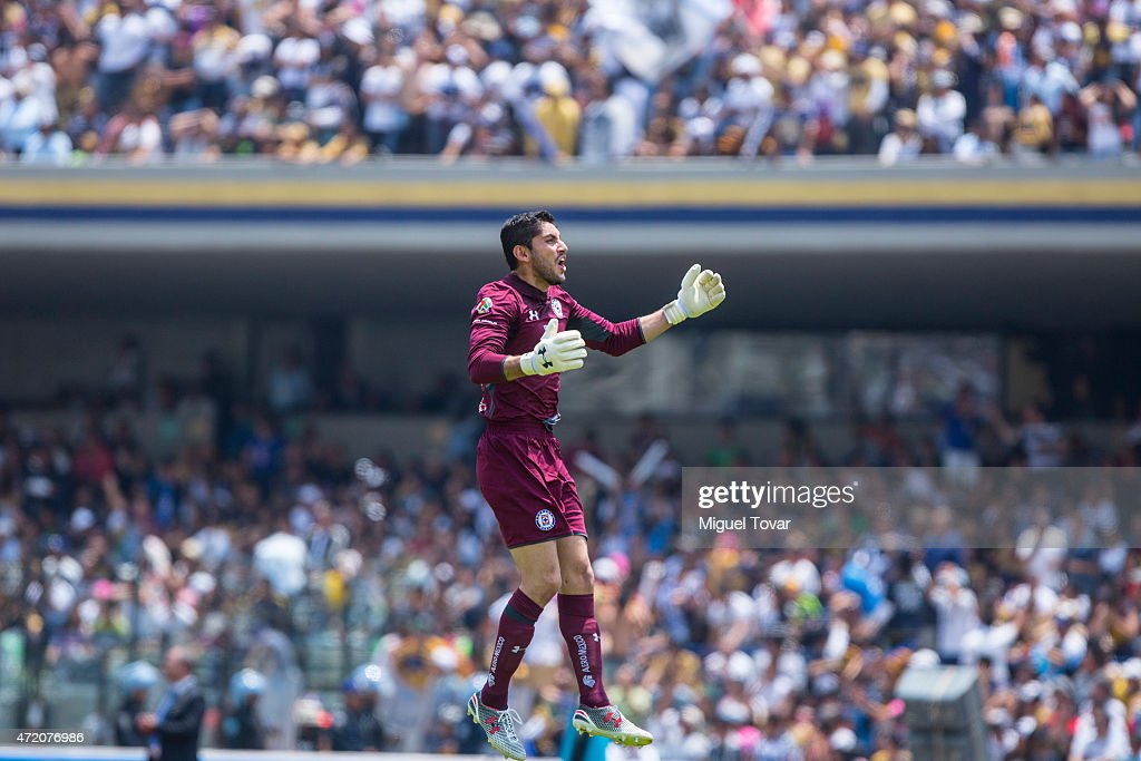 Jesus Corona of Cruz Azul celebrates a goal of his team during a match between Pumas UNAM and Cruz Azul as part of 16th round of Clausura 2015 Liga...