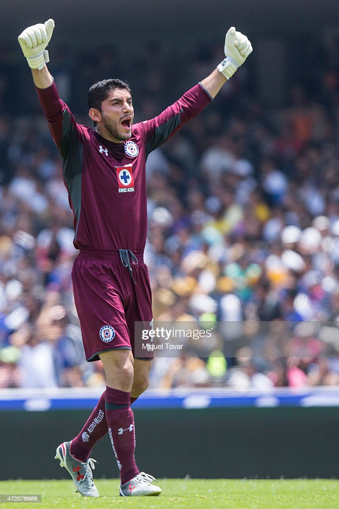 Jesus Corona of Cruz Azul celebrates a goal of his team during a match between Pumas UNAM and Cruz Azul as part of 16th round of Clausura 2015 Liga MX at Olimpico Universitario Stadium on May 03, 2015 in Mexico City, Mexico.