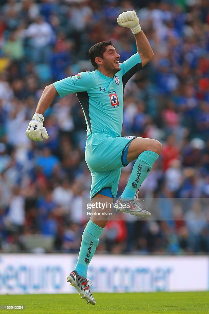 Jesus Corona of Cruz Azul celebrates the first goal of his team during a match between Cruz Azul and Atlas as part of 9th round Clausura 2015 Liga MX at Azul Stadium on March 07, 2015 in Mexico City, Mexico.