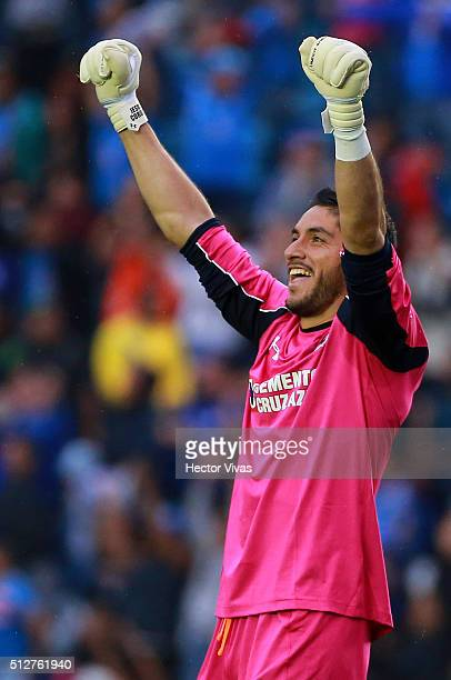 Jesus Corona of Cruz Azul celebrates the third goal of his team during the 8th round match between Cruz Azul and Monterrey as part of the Clausura...