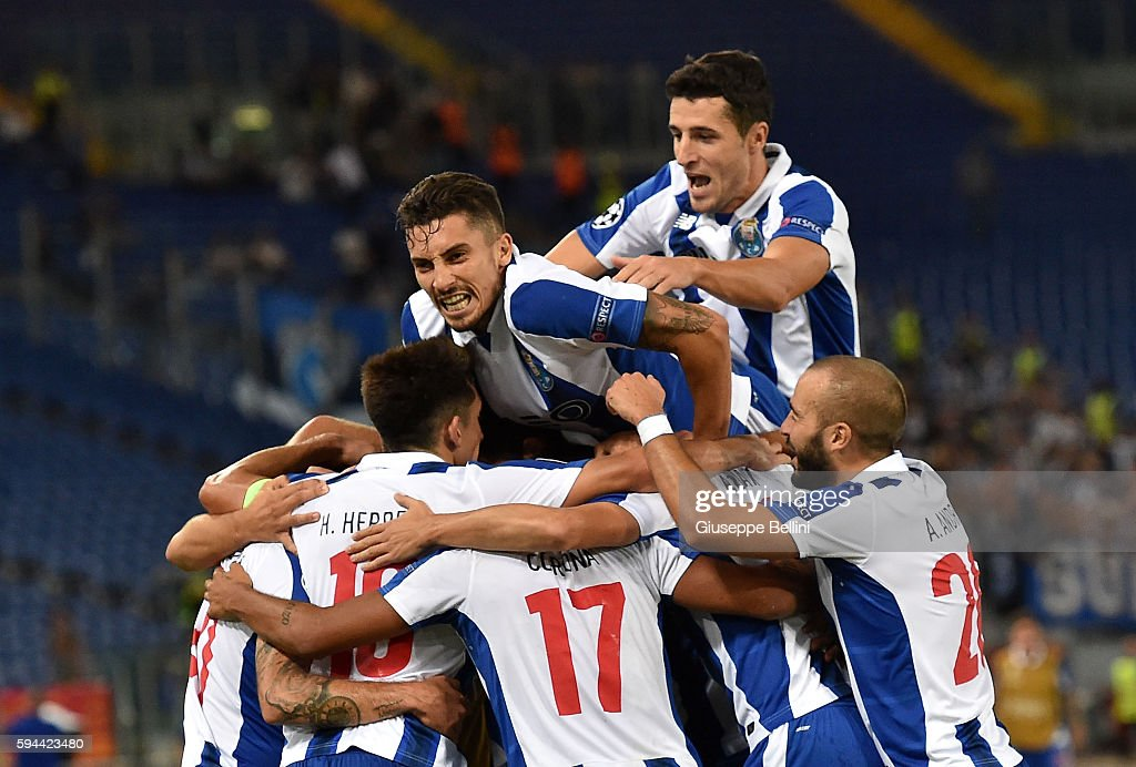 Jesus Corona of FC Porto celebrates after scoring the goal 03 during the UEFA Champions League qualifying playoffs match between FC Porto and AS Roma...