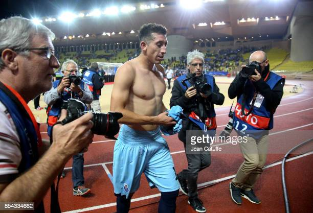 Jesus Corona of FC Porto celebrates the victory following the UEFA Champions League group G match between AS Monaco and FC Porto at Stade Louis II on...