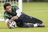 Jesus Corona of Mexico catches the ball during a Training Session at Arena Pernambuco Stadium on June 22 2014 in Recife Brazil Mexico will face...