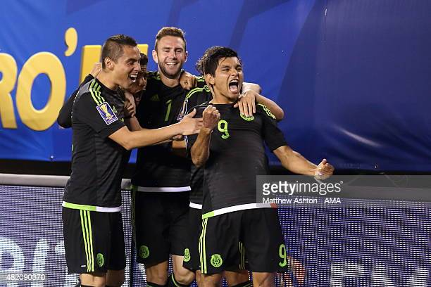 Jesus Corona of Mexico celebrates after scoring a goal to make it 02 during the 2015 CONCACAF Gold Cup Final match between Jamaica and Mexico at...