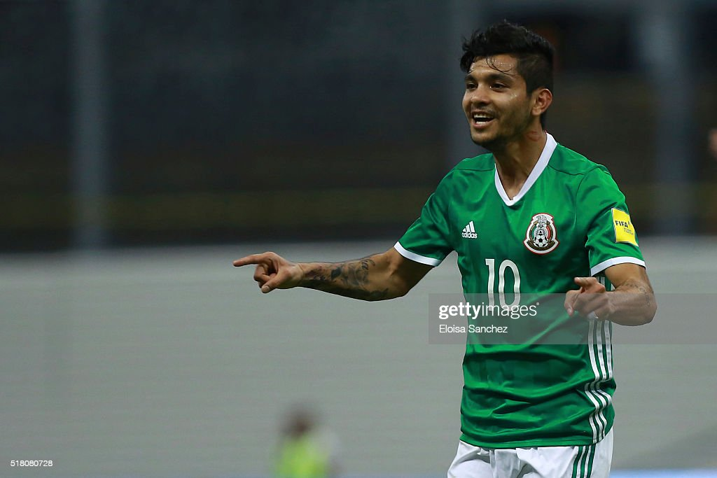 Jesus Corona of Mexico celebrates after scoring the second goal of his team during the match between Mexico and Canada as part of the FIFA 2018 World...