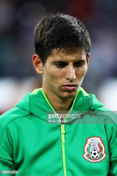 Jesus Corona of Mexico lines up prior to the FIFA Confederations Cup Russia 2017 Group A match between Mexico and New Zealand at Fisht Olympic...